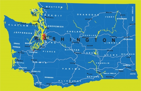 State of Washington political map