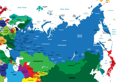 Political map of Russia Illustration