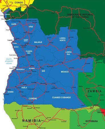 angola: Political map of Angola