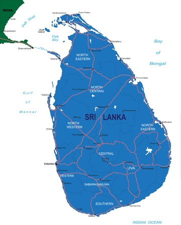 Sri Lanka map Vettoriali