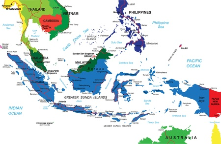 Malaysia And Indonesia Political Map With Capitals Kuala Lumpur - Indonesia political map