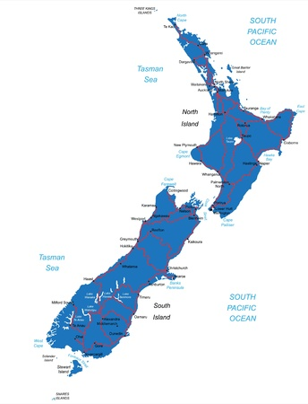 New Zealand map Vettoriali