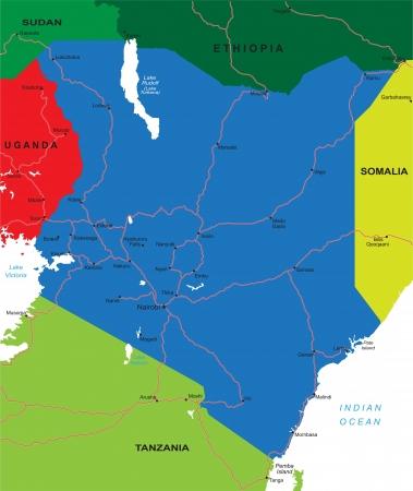 kenya: Kenya map Illustration