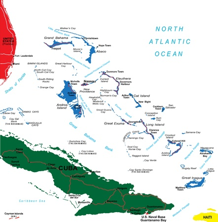 cayman islands: Bahamas map