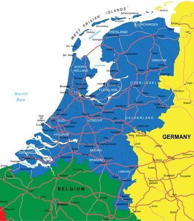 the netherlands: Nederland kaart Stock Illustratie
