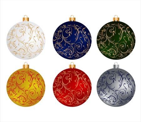 newyear card: Christmas colourful globes set