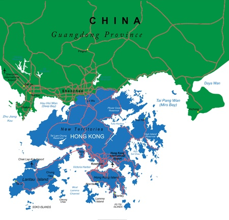 asia map: Hong Kong map Illustration