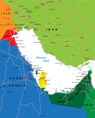 Persian Gulf Area map Vector