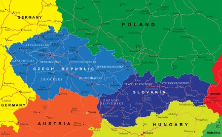 Czech and Slovak Republics map Vector
