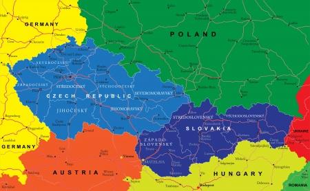 Czech and Slovak Republics map Фото со стока - 18760059