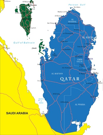 Qatar map Illustration