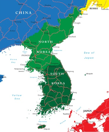 south east: South and North Korea map