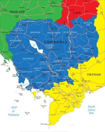 Cambodia map Illustration