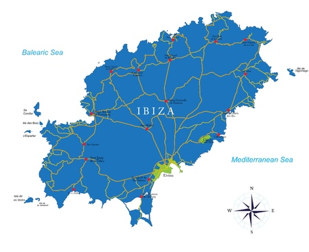 ibiza: Ibiza map Illustration