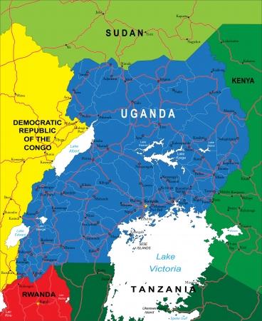 kigali: Uganda map
