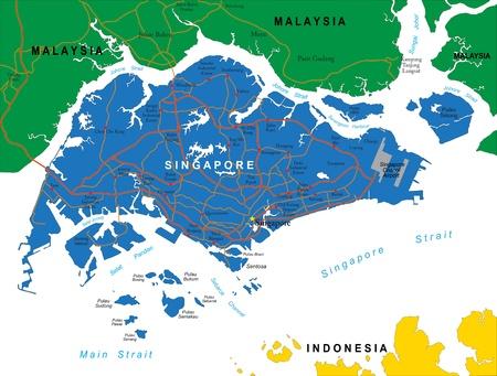 Singapore map Иллюстрация