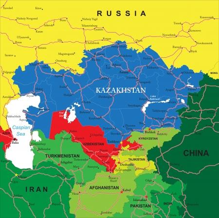 Kazajstán mapa Ilustración de vector