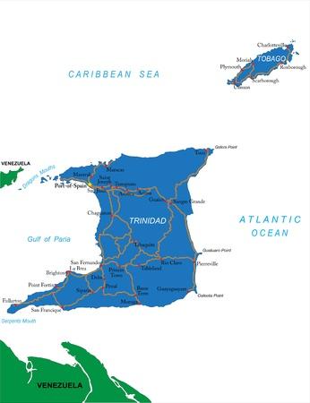 trinidad: Trinidad & Tobago map Illustration