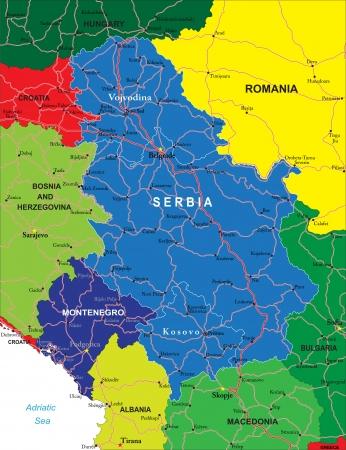 serbia and montenegro: Serbia and Montenegro map Illustration