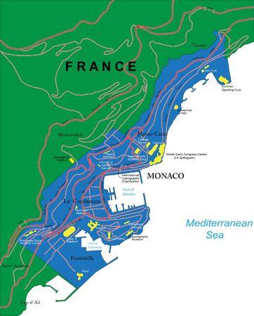 monaco: Monaco map Illustration
