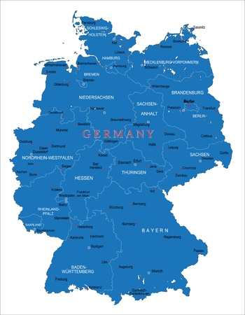 europa: Alemania mapa Vectores