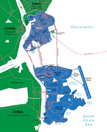 Macau Political Map Special Administrative Region Of The People