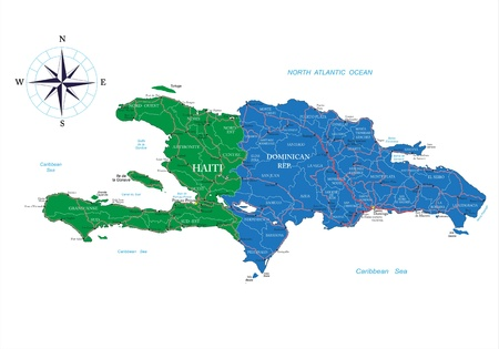 Dominican Republic and Haiti map Illustration