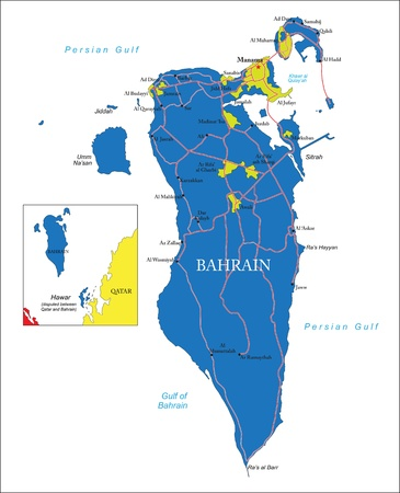 bahrain: Highly detailed map of Bahrain  with administrative regions, main cities and roads
