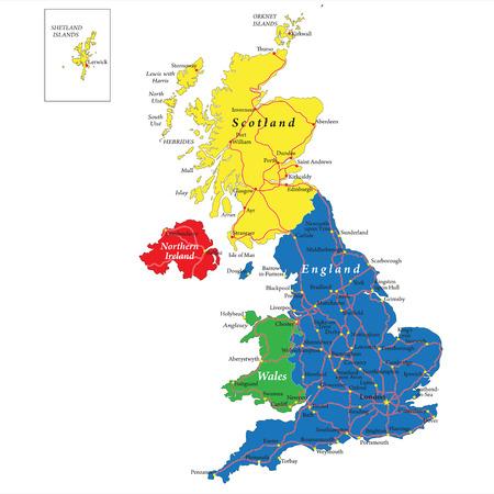 England,Scotland,Wales map Illustration