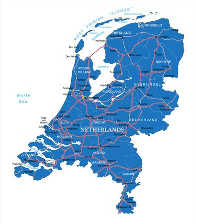 Holland kaart Vector Illustratie