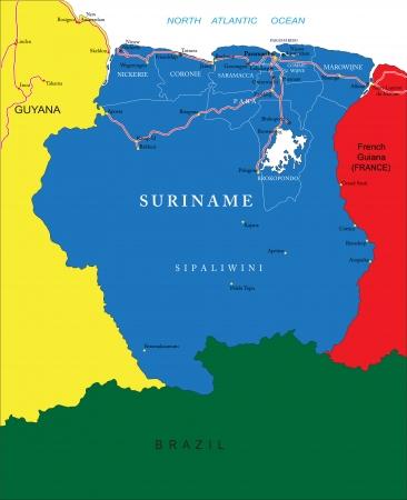 suriname: Suriname map Illustration