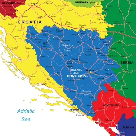 Bosnia  and Herzegovina map Vettoriali