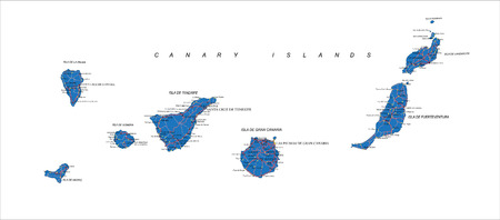 Canary Islands map Vettoriali