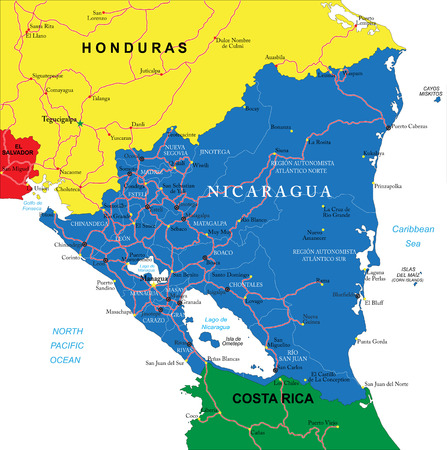 central america: Nicaragua map