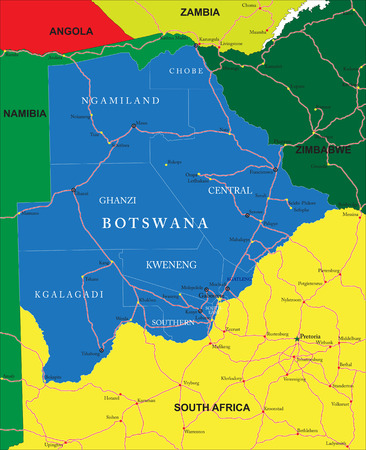 Botswana map Illustration