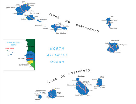 Cape Verde islands map Vettoriali