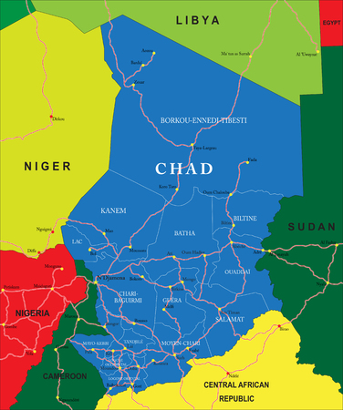 sudan: Chad map Illustration