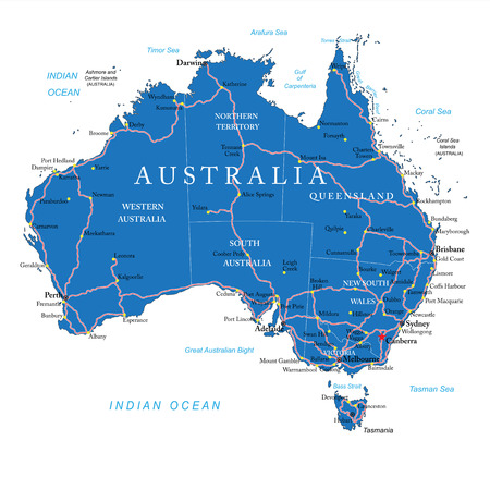 Australia Road Map Royalty Free Cliparts Vectors And Stock