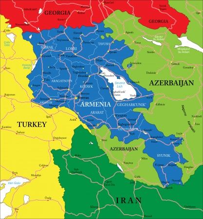 map of armenia: Highly detailed vector map of Armenia with administrative regions, main cities and roads