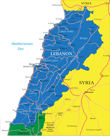 Highly detailed vector map of Lebanon with administrative regions, main cities and roads  Vector