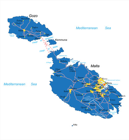 Highly detailed vector map of Malta with administrative regions, main cities and roads.