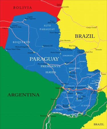 paraguay: Highly detailed vector map of Paraguay with administrative regions, main cities and roads.