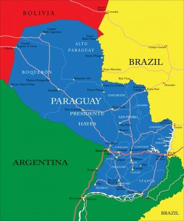 mapa de bolivia: Muy detallado mapa vectorial de Paraguay con las regiones administrativas, principales ciudades y carreteras. Vectores