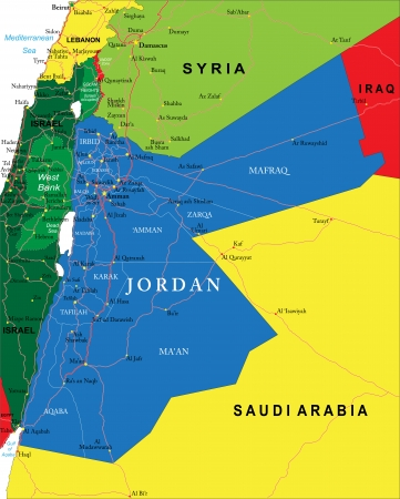 nazareth: Highly detailed vector map of Jordan with administrative regions, main cities and roads. Illustration