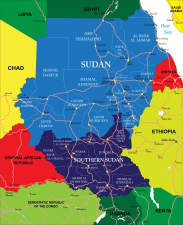 Highly detailed vector map of Sudan with administrative regions, main cities and roads.