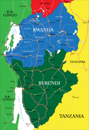burundi: Rwanda map