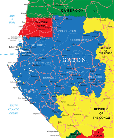 gabon: Highly detailed vector map of Gabon with administrative regions, main cities and roads  Illustration