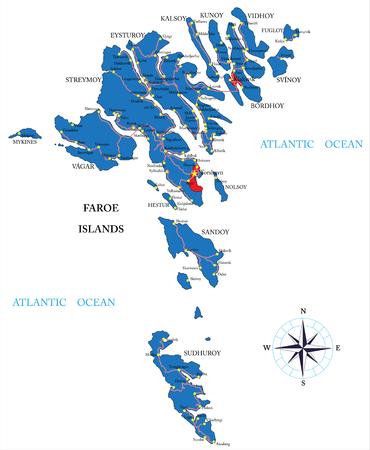 atlantic city: Faeroe Islands map Illustration