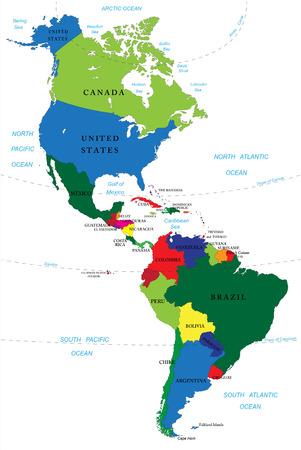 北米および南米の地図