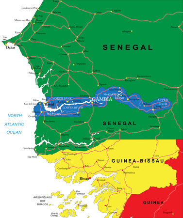 gambia: Gambia map